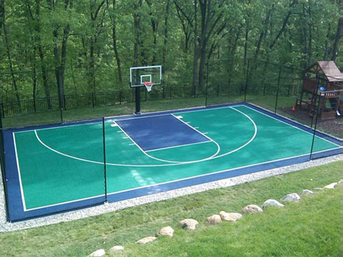 Building an outdoor basketball court half court for How to build a sport court